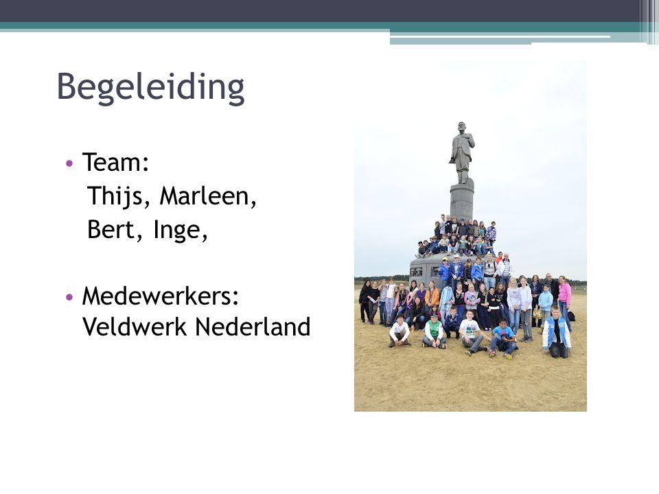 Begeleiding Team: Thijs, Marleen, Bert, Inge, Medewerkers: Veldwerk Nederland