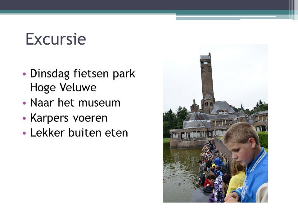 Excursie Dinsdag fietsen park Hoge Veluwe Naar het museum Karpers voeren Lekker buiten eten