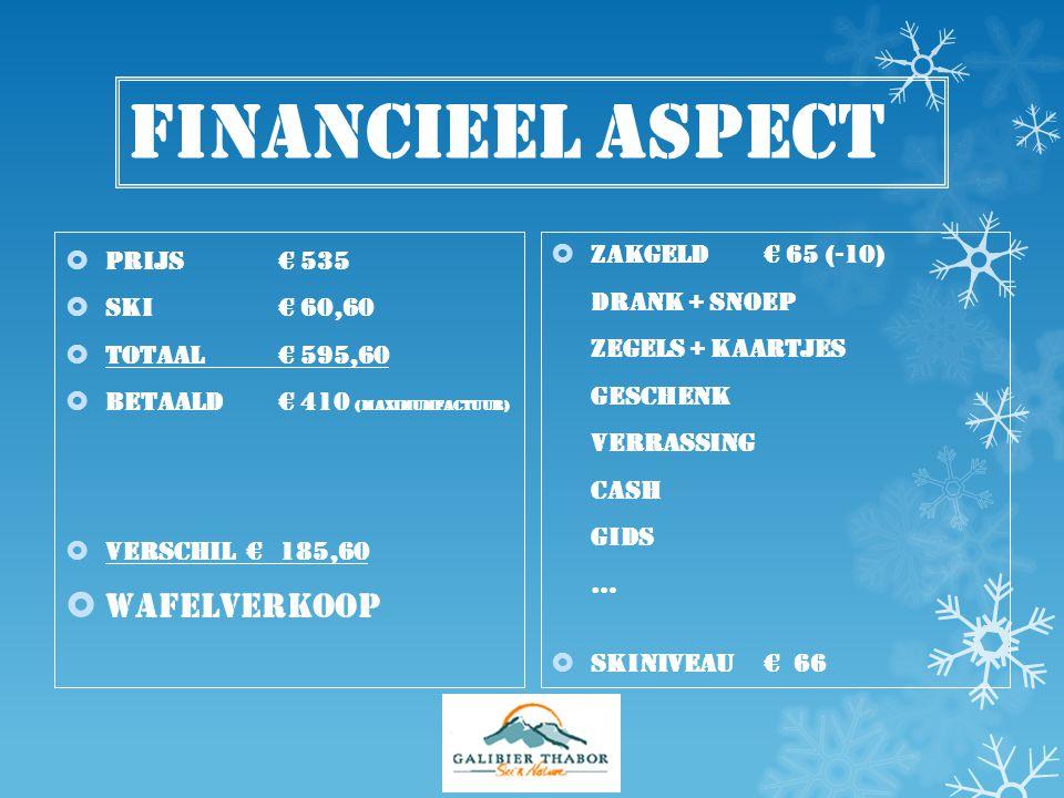 Financieel aspect  Prijs € 535  Ski € 60,60  Totaal € 595,60  BETAALD € 410 (maximumfactuur)  Verschil € 185,60  wafelverkoop  Zakgeld € 65 (-1