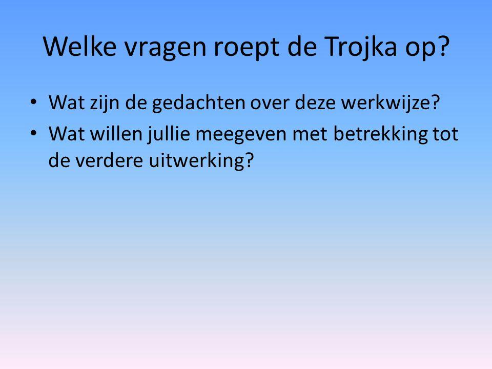 Welke vragen roept de Trojka op? Wat zijn de gedachten over deze werkwijze? Wat willen jullie meegeven met betrekking tot de verdere uitwerking?