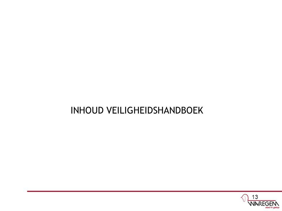 INHOUD VEILIGHEIDSHANDBOEK 13