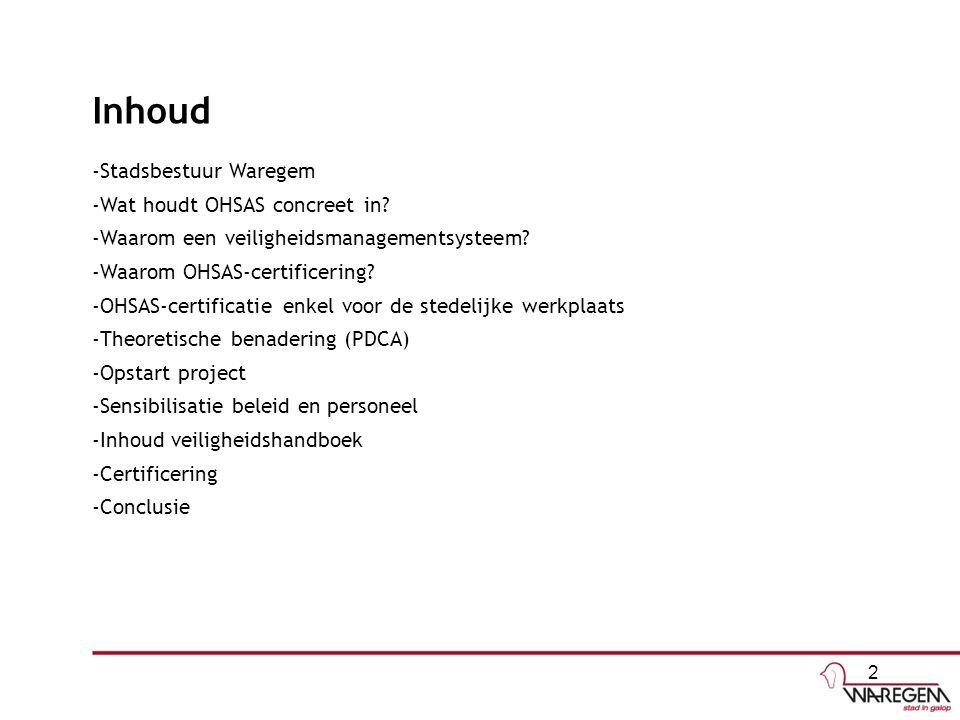 Inhoud -Stadsbestuur Waregem -Wat houdt OHSAS concreet in.
