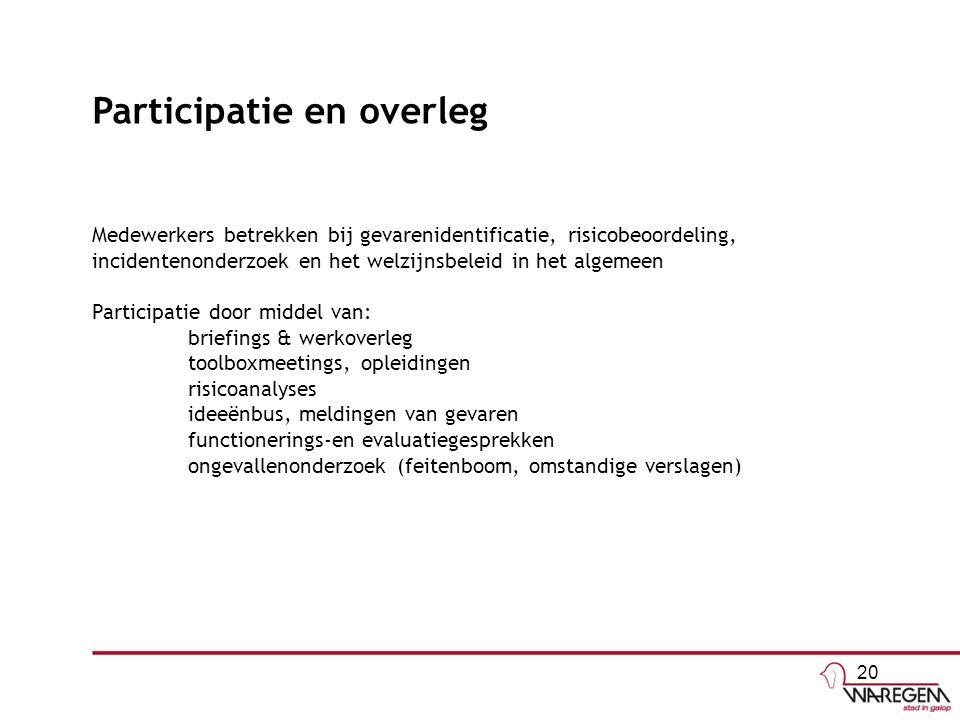 Participatie en overleg Medewerkers betrekken bij gevarenidentificatie, risicobeoordeling, incidentenonderzoek en het welzijnsbeleid in het algemeen P