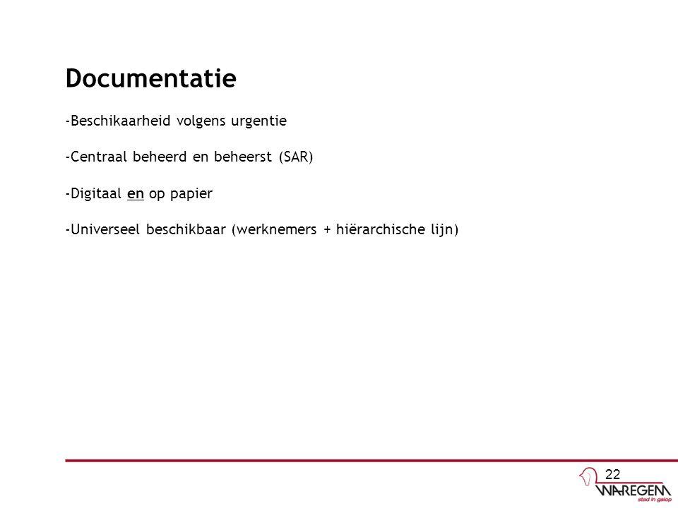 Documentatie -Beschikaarheid volgens urgentie -Centraal beheerd en beheerst (SAR) -Digitaal en op papier -Universeel beschikbaar (werknemers + hiërarchische lijn) 22