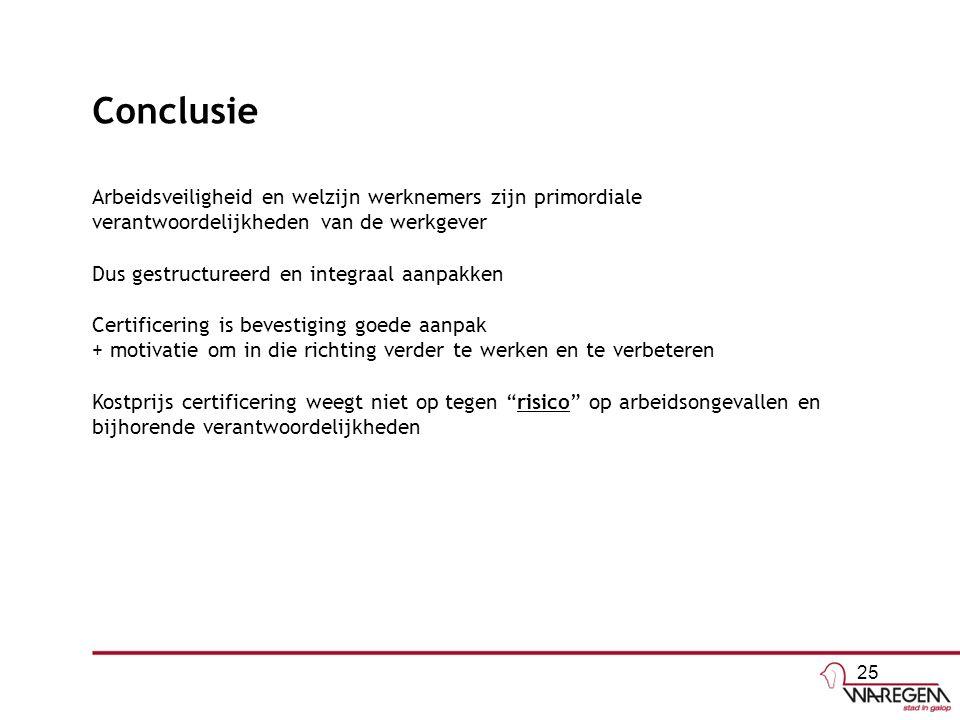 Conclusie Arbeidsveiligheid en welzijn werknemers zijn primordiale verantwoordelijkheden van de werkgever Dus gestructureerd en integraal aanpakken Certificering is bevestiging goede aanpak + motivatie om in die richting verder te werken en te verbeteren Kostprijs certificering weegt niet op tegen risico op arbeidsongevallen en bijhorende verantwoordelijkheden 25