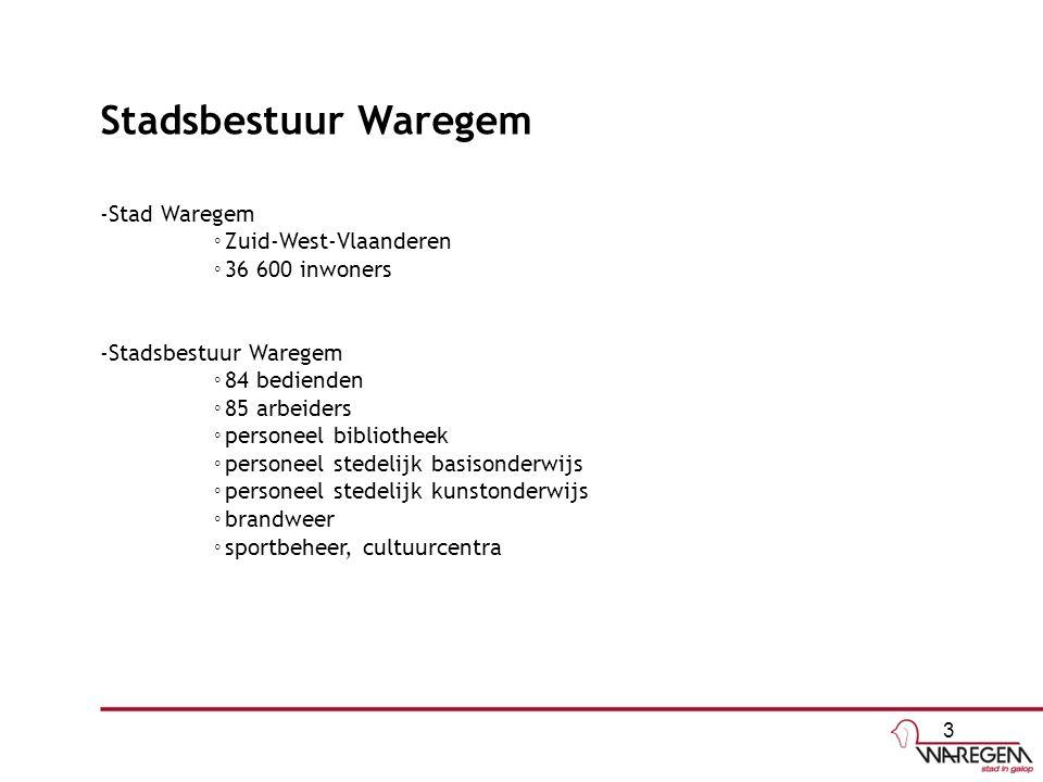 Stadsbestuur Waregem -Stad Waregem ◦ Zuid-West-Vlaanderen ◦ 36 600 inwoners -Stadsbestuur Waregem ◦ 84 bedienden ◦ 85 arbeiders ◦ personeel bibliotheek ◦ personeel stedelijk basisonderwijs ◦ personeel stedelijk kunstonderwijs ◦ brandweer ◦ sportbeheer, cultuurcentra 3