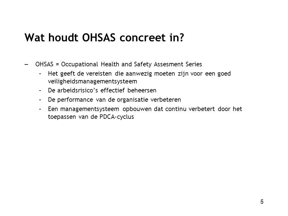 Wat houdt OHSAS concreet in? – OHSAS = Occupational Health and Safety Assesment Series –Het geeft de vereisten die aanwezig moeten zijn voor een goed