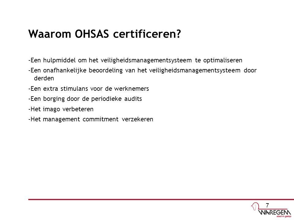 Waarom OHSAS certificeren? -Een hulpmiddel om het veiligheidsmanagementsysteem te optimaliseren -Een onafhankelijke beoordeling van het veiligheidsman