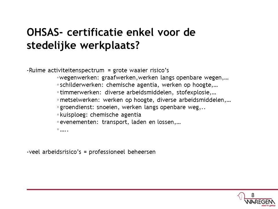 OHSAS- certificatie enkel voor de stedelijke werkplaats? -Ruime activiteitenspectrum = grote waaier risico's ◦ wegenwerken: graafwerken,werken langs o