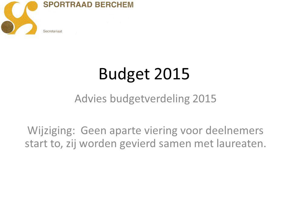 Budget 2015 Advies budgetverdeling 2015 Wijziging: Geen aparte viering voor deelnemers start to, zij worden gevierd samen met laureaten.