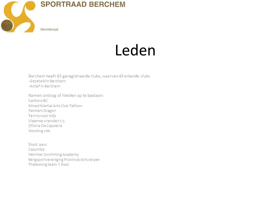 Leden Berchem heeft 63 geregistreerde clubs, waarvan 43 erkende clubs -Gezeteld in Berchem -Actief in Berchem Namen ontslag of hielden op te bestaan: