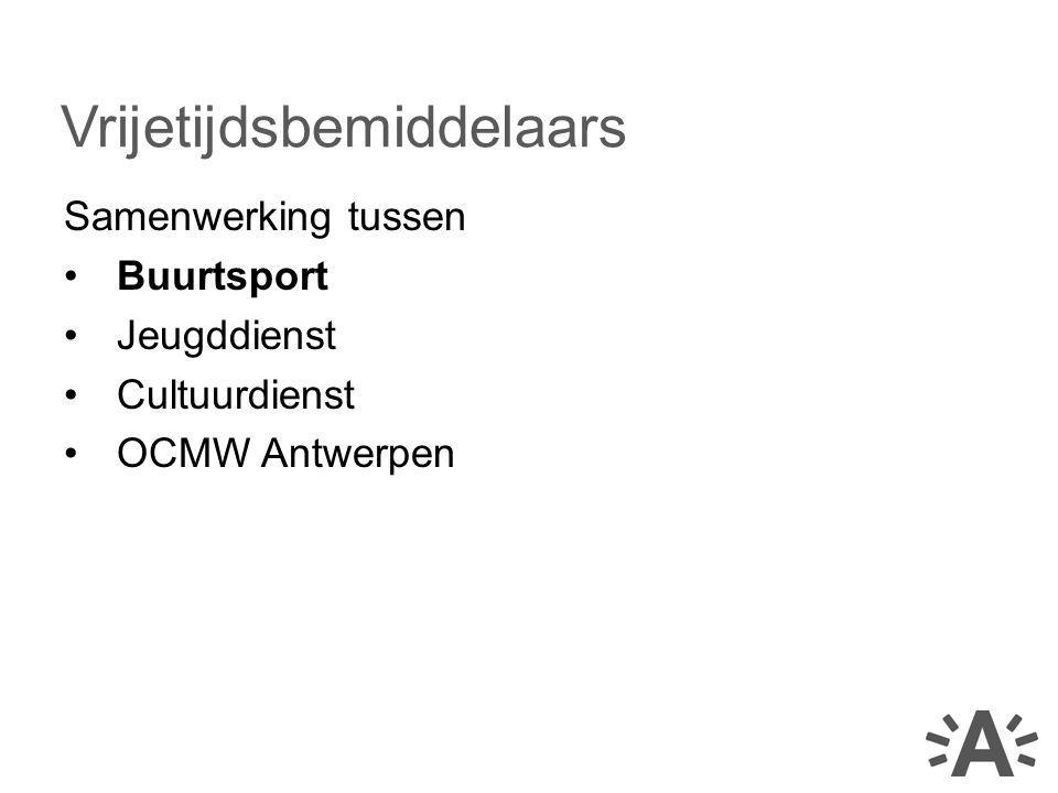 Samenwerking tussen Buurtsport Jeugddienst Cultuurdienst OCMW Antwerpen Vrijetijdsbemiddelaars