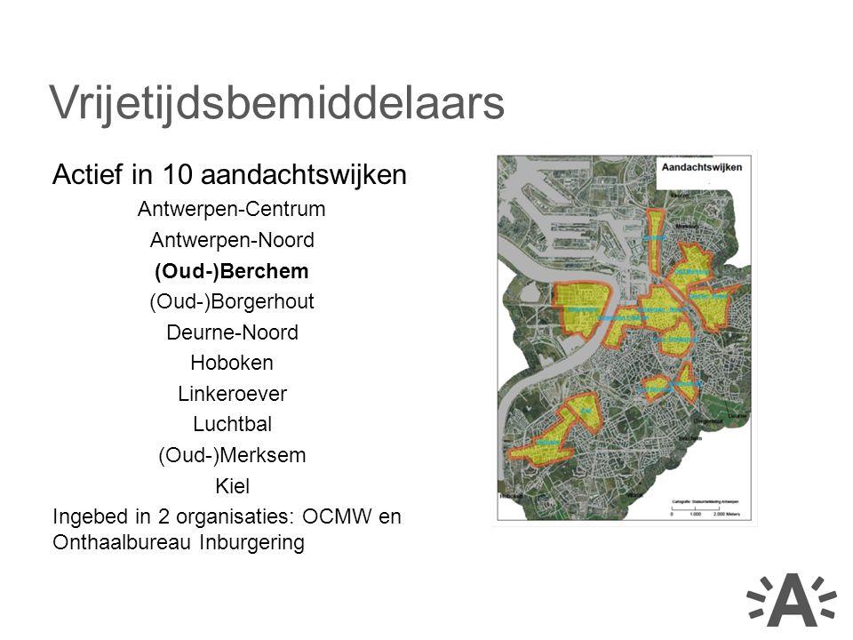 Actief in 10 aandachtswijken Antwerpen-Centrum Antwerpen-Noord (Oud-)Berchem (Oud-)Borgerhout Deurne-Noord Hoboken Linkeroever Luchtbal (Oud-)Merksem