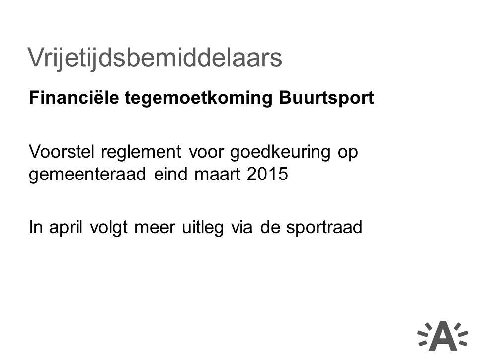 Financiële tegemoetkoming Buurtsport Voorstel reglement voor goedkeuring op gemeenteraad eind maart 2015 In april volgt meer uitleg via de sportraad V