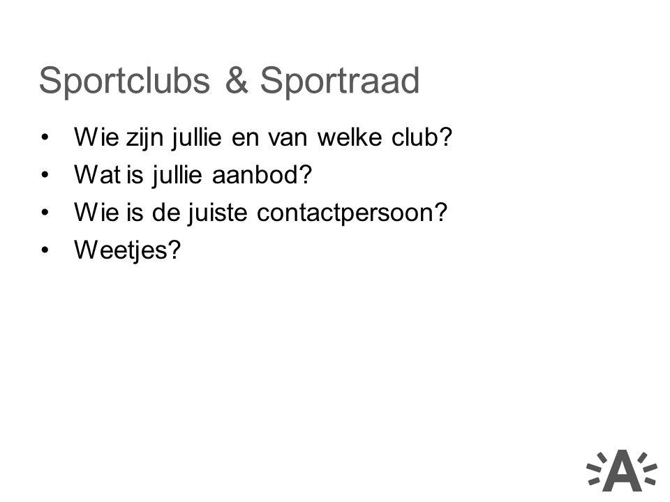Wie zijn jullie en van welke club? Wat is jullie aanbod? Wie is de juiste contactpersoon? Weetjes? Sportclubs & Sportraad