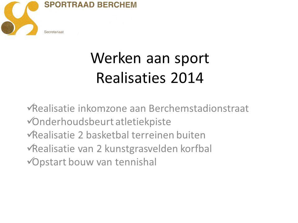 Werken aan sport Realisaties 2014 Realisatie inkomzone aan Berchemstadionstraat Onderhoudsbeurt atletiekpiste Realisatie 2 basketbal terreinen buiten