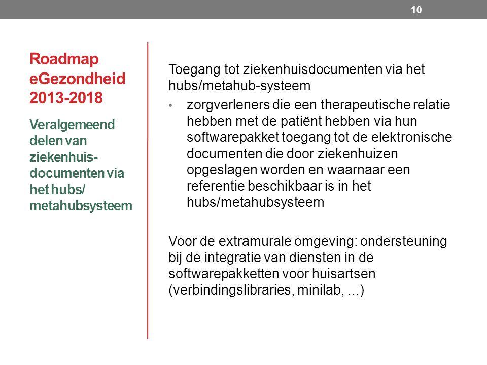 Roadmap eGezondheid 2013-2018 Veralgemeend delen van ziekenhuis- documenten via het hubs/ metahubsysteem 10 Toegang tot ziekenhuisdocumenten via het hubs/metahub-systeem zorgverleners die een therapeutische relatie hebben met de patiënt hebben via hun softwarepakket toegang tot de elektronische documenten die door ziekenhuizen opgeslagen worden en waarnaar een referentie beschikbaar is in het hubs/metahubsysteem Voor de extramurale omgeving: ondersteuning bij de integratie van diensten in de softwarepakketten voor huisartsen (verbindingslibraries, minilab,...)