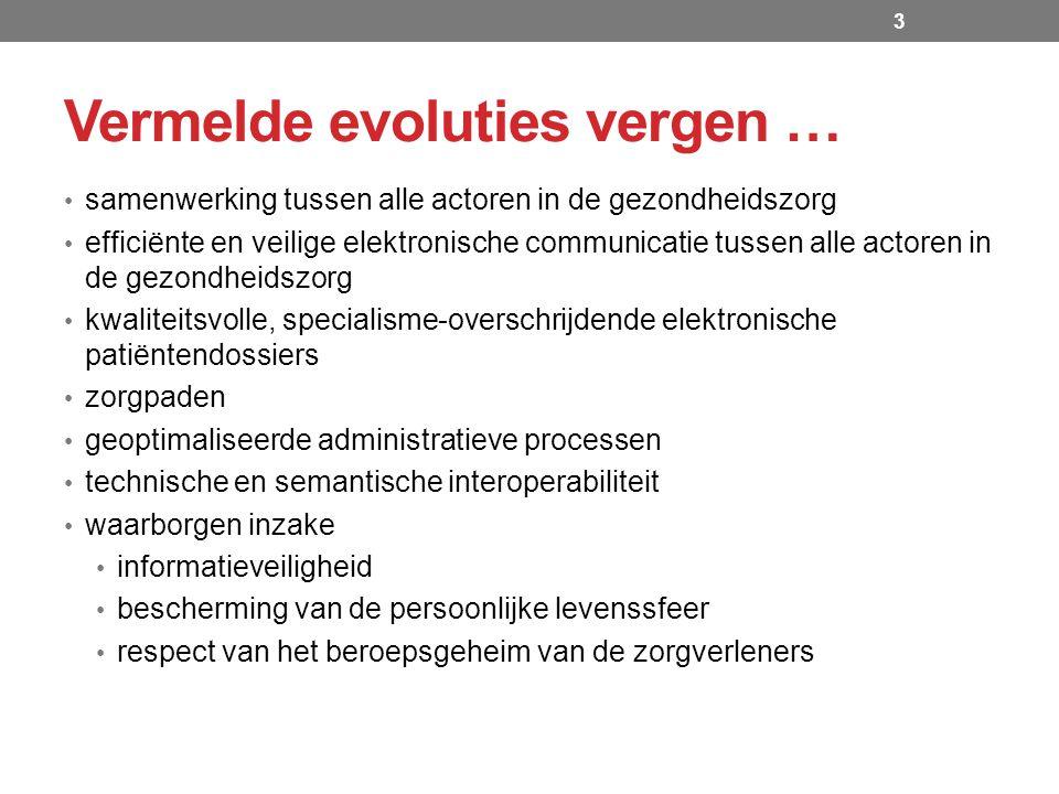 Roadmap eGezondheid 2013-2018 Centraal Traceerbaarheidsregister centrale opslag van basisinformatie over een aantal soorten ingeplante implantaten integratie van de toepassingen Orthopride en Qermid (heup-en knieprothesen, pacemakers, coronaire stents, borstimplantaten,...) pilootproject in april 2014 in 2 ziekenhuizen (Charleroi en Leuven)  Voordelen  betere traceerbaarheid van de ingeplande implantaten  transparantie voor de patiënt (aanmaken van een implantaatkaart met alle nuttige informatie) Traceerbaarheid van medische hulpmiddelen 14