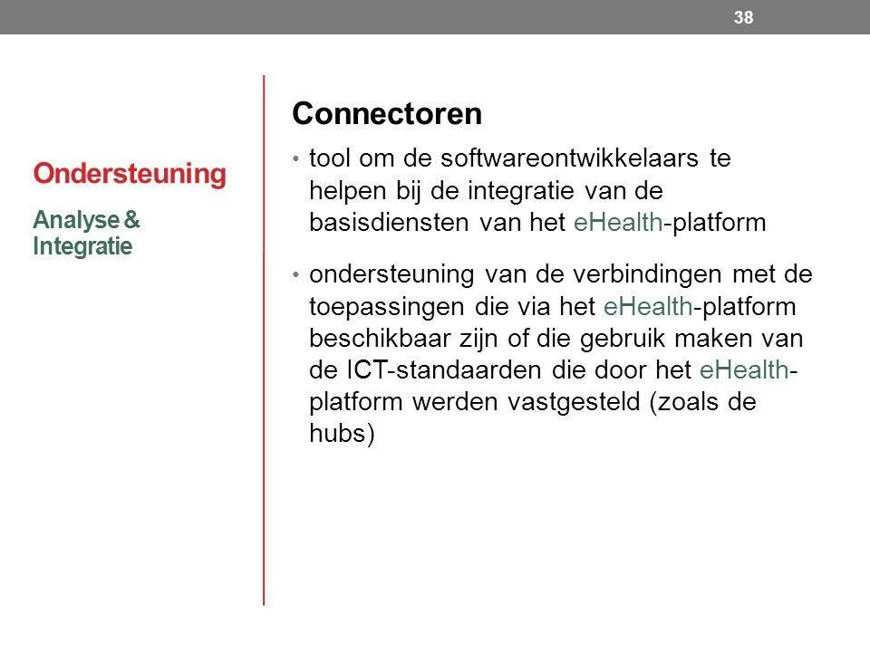 Ondersteuning Connectoren tool om de softwareontwikkelaars te helpen bij de integratie van de basisdiensten van het eHealth-platform ondersteuning van de verbindingen met de toepassingen die via het eHealth-platform beschikbaar zijn of die gebruik maken van de ICT-standaarden die door het eHealth- platform werden vastgesteld (zoals de hubs) Analyse & Integratie 38