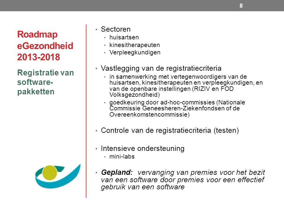 Roadmap eGezondheid 2013-2018 Registratie van software- pakketten 8 Sectoren huisartsen kinesitherapeuten Verpleegkundigen Vastlegging van de registratiecriteria in samenwerking met vertegenwoordigers van de huisartsen, kinesitherapeuten en verpleegkundigen, en van de openbare instellingen (RIZIV en FOD Volksgezondheid) goedkeuring door ad-hoc-commissies (Nationale Commissie Geneesheren-Ziekenfondsen of de Overeenkomstencommissie) Controle van de registratiecriteria (testen) Intensieve ondersteuning mini-labs Gepland: vervanging van premies voor het bezit van een software door premies voor een effectief gebruik van een software