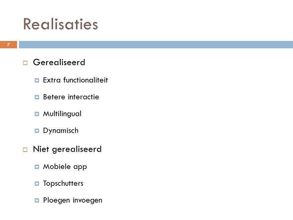 Realisaties  Gerealiseerd  Extra functionaliteit  Betere interactie  Multilingual  Dynamisch  Niet gerealiseerd  Mobiele app  Topschutters  Ploegen invoegen 7