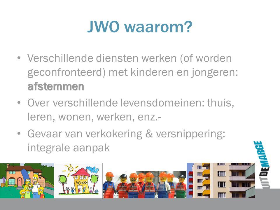 JWO waarom? afstemmen Verschillende diensten werken (of worden geconfronteerd) met kinderen en jongeren: afstemmen Over verschillende levensdomeinen: