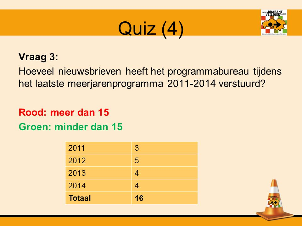 Quiz (3) Vraag 2: Hoeveel van de 74 bestuurlijke verklaringen (programma 2011-2014) zijn er inmiddels uitgereikt.