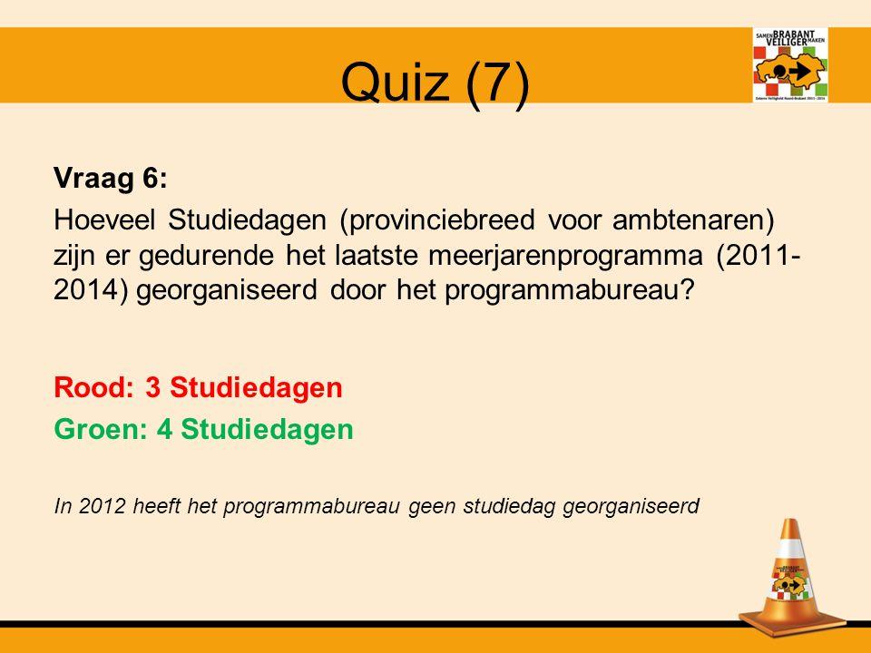 Quiz (6) Vraag 5: Wat is het bedrag dat de provincie jaarlijks heeft mogen ontvangen, gedurende het meerjarenprogramma.
