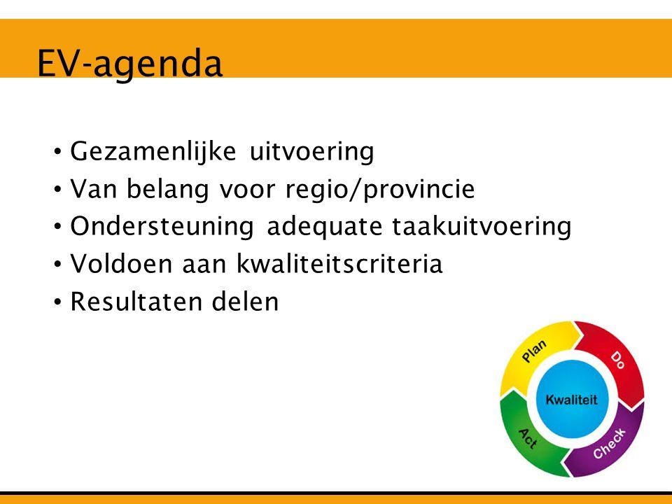 Gezamenlijke uitvoering Van belang voor regio/provincie Ondersteuning adequate taakuitvoering Voldoen aan kwaliteitscriteria Resultaten delen EV-agenda