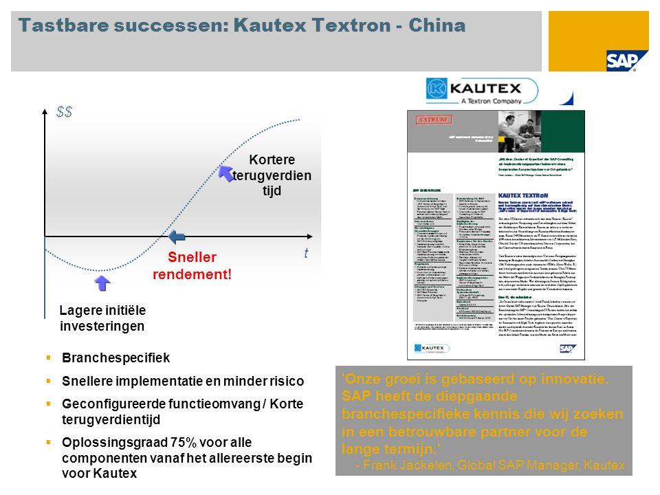 Tastbare successen: Kautex Textron - China 'Onze groei is gebaseerd op innovatie. SAP heeft de diepgaande branchespecifieke kennis die wij zoeken in e
