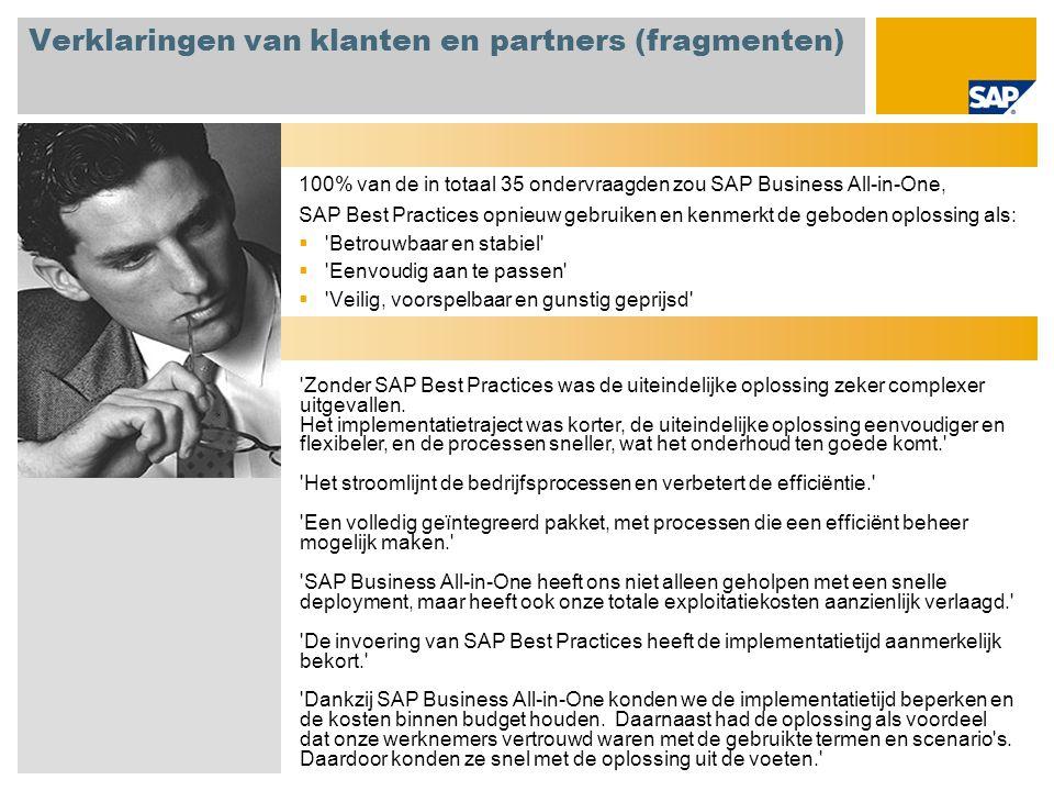 Verklaringen van klanten en partners (fragmenten) 100% van de in totaal 35 ondervraagden zou SAP Business All-in-One, SAP Best Practices opnieuw gebru
