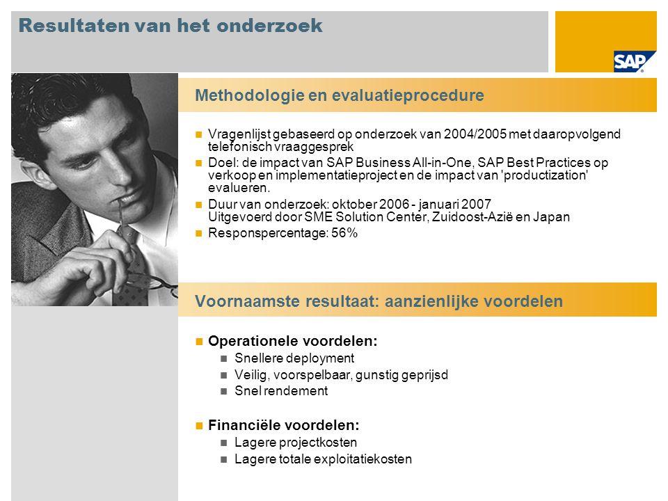 Demografie van het onderzoek Vanaf oktober 2006 t/m januari 2007 is bij 35 klanten en partners in de regio Zuidoost-Azië/Japan onderzoek gedaan naar de impact van oplossingen op basis van SAP Business All-in-One en SAP Best Practices op verkoop, implementatie en productization .