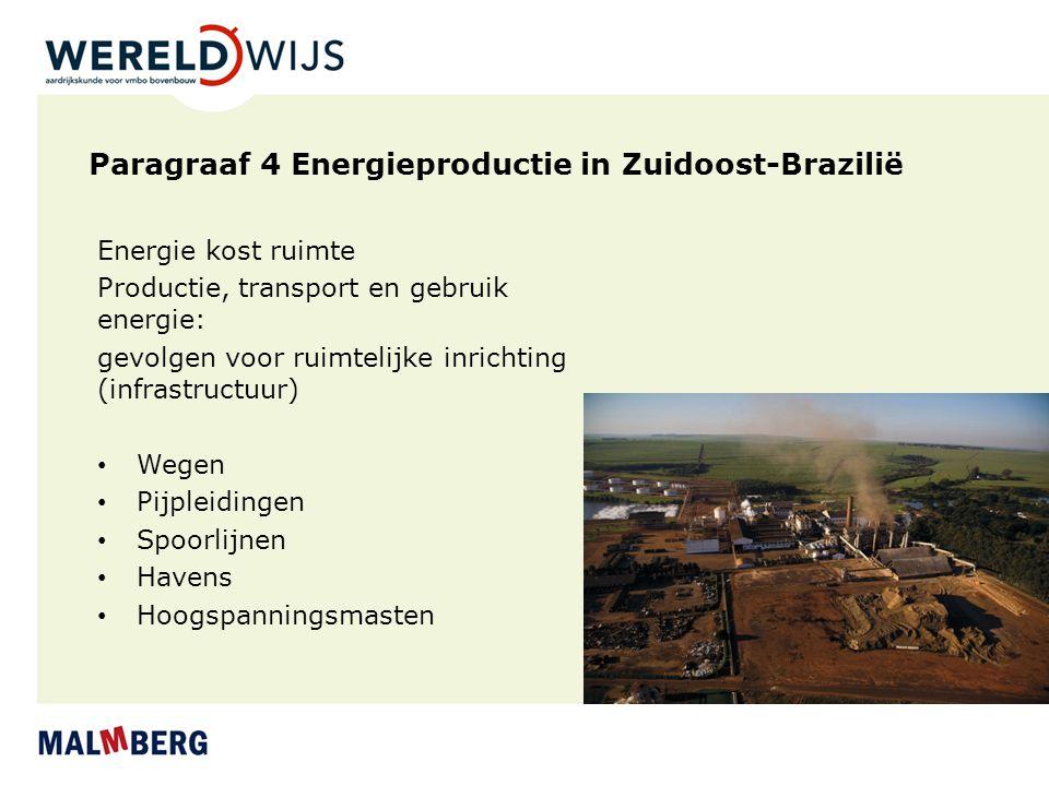 Paragraaf 4 Energieproductie in Zuidoost-Brazilië Energie kost ruimte Productie, transport en gebruik energie: gevolgen voor ruimtelijke inrichting (i