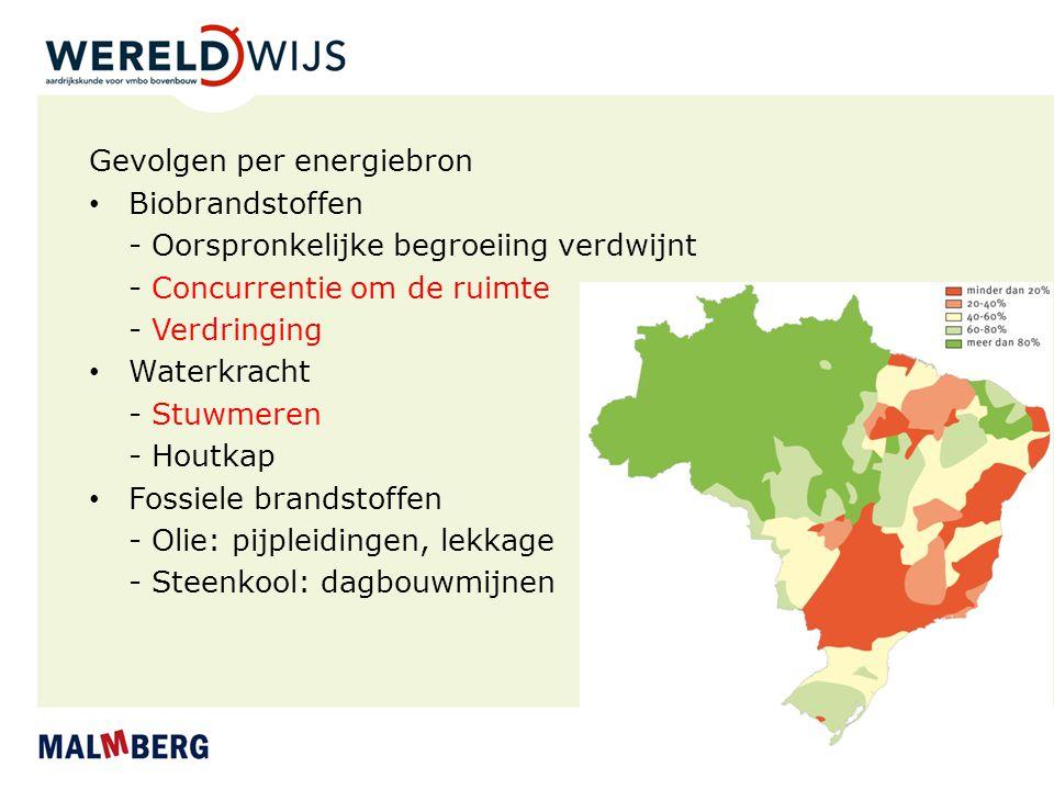 Gevolgen per energiebron Biobrandstoffen - Oorspronkelijke begroeiing verdwijnt - Concurrentie om de ruimte - Verdringing Waterkracht - Stuwmeren - Ho