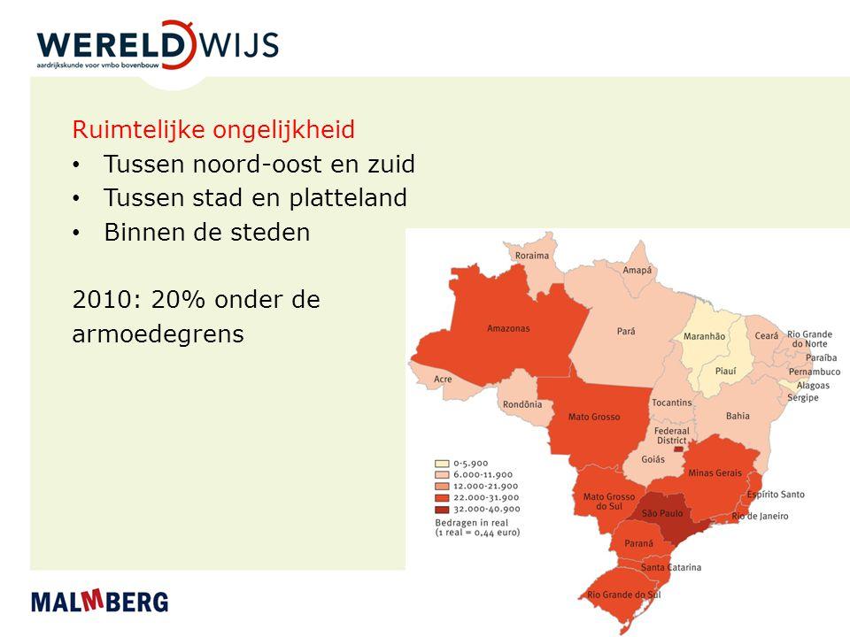 Ruimtelijke ongelijkheid Tussen noord-oost en zuid Tussen stad en platteland Binnen de steden 2010: 20% onder de armoedegrens