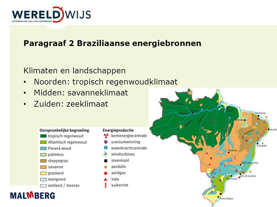 Paragraaf 2 Braziliaanse energiebronnen Klimaten en landschappen Noorden: tropisch regenwoudklimaat Midden: savanneklimaat Zuiden: zeeklimaat