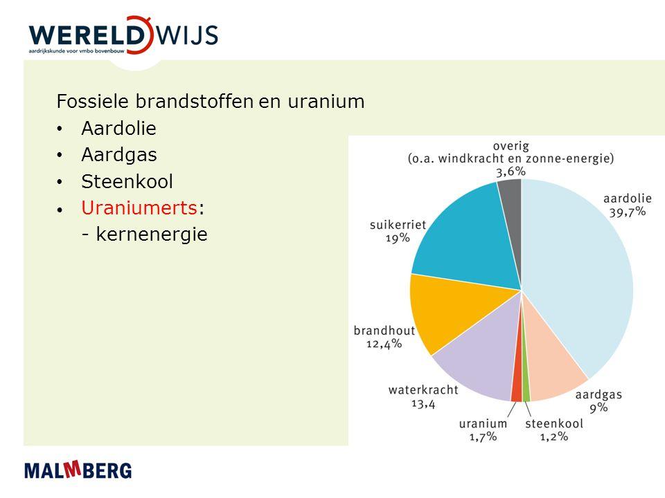Fossiele brandstoffen en uranium Aardolie Aardgas Steenkool Uraniumerts: - kernenergie