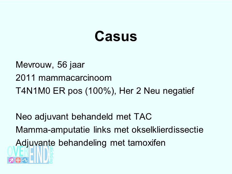 Casus Mevrouw, 56 jaar 2011 mammacarcinoom T4N1M0 ER pos (100%), Her 2 Neu negatief Neo adjuvant behandeld met TAC Mamma-amputatie links met okselklie