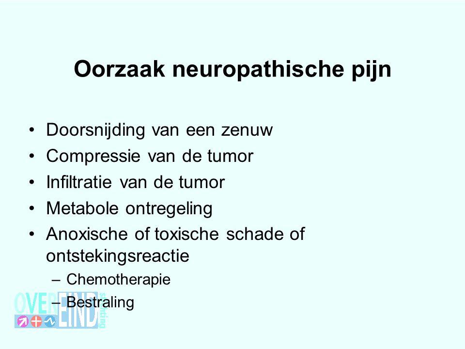 Oorzaak neuropathische pijn Doorsnijding van een zenuw Compressie van de tumor Infiltratie van de tumor Metabole ontregeling Anoxische of toxische sch