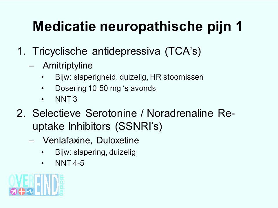 Medicatie neuropathische pijn 1 1.Tricyclische antidepressiva (TCA's) –Amitriptyline Bijw: slaperigheid, duizelig, HR stoornissen Dosering 10-50 mg 's