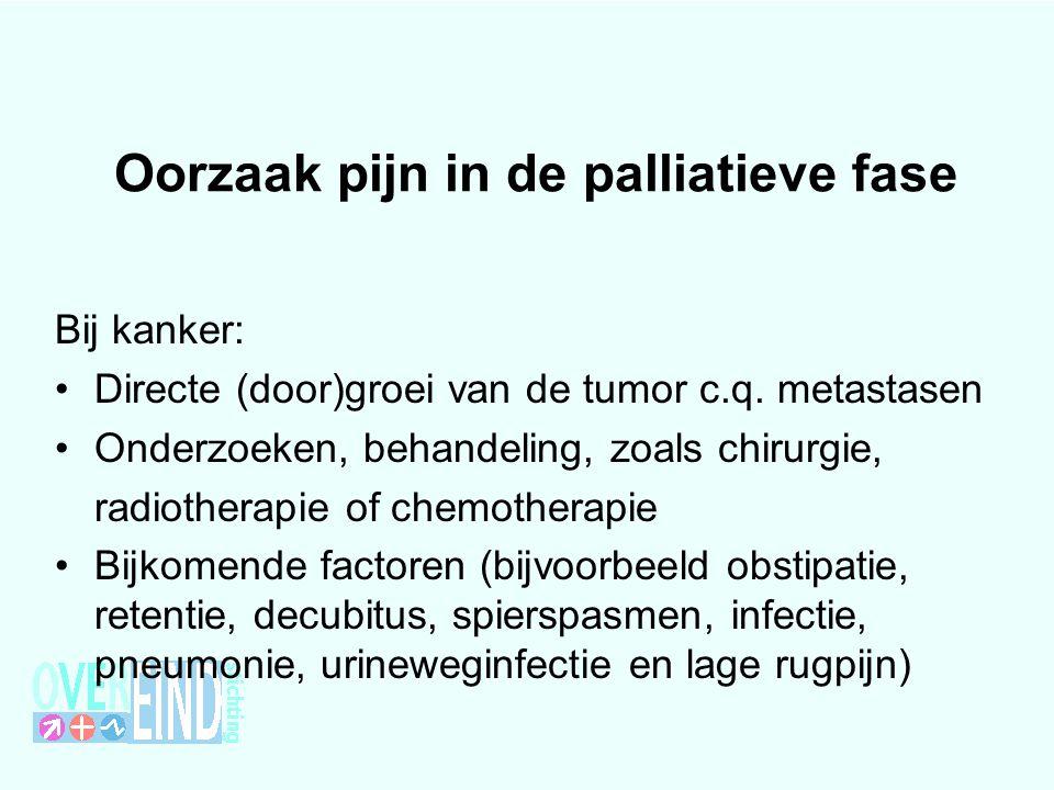 Oorzaak pijn in de palliatieve fase Bij kanker: Directe (door)groei van de tumor c.q. metastasen Onderzoeken, behandeling, zoals chirurgie, radiothera