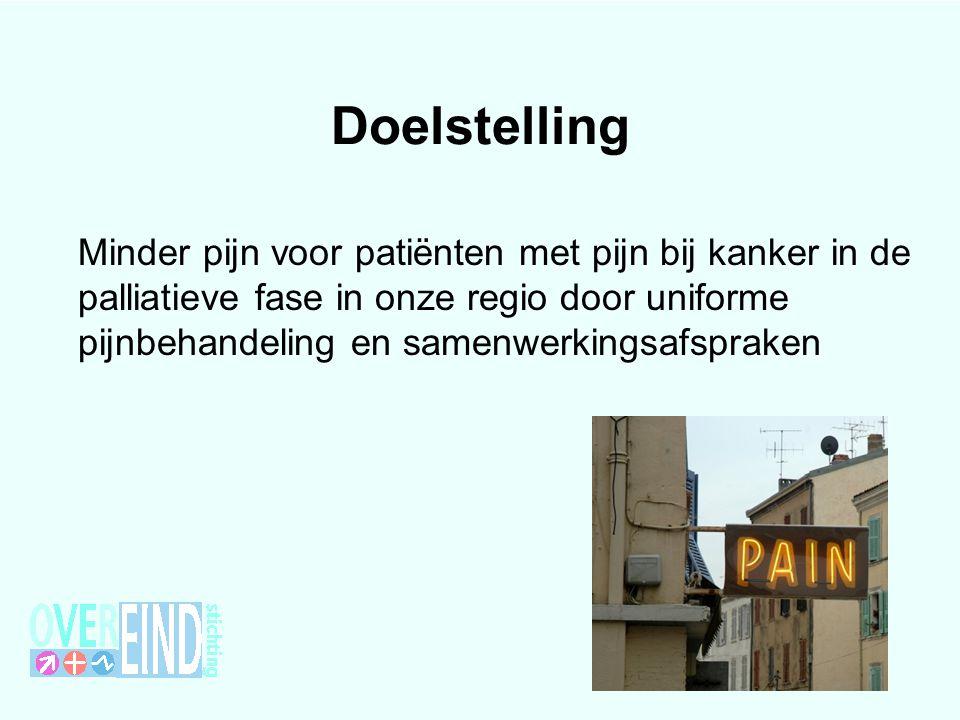 Doelstelling Minder pijn voor patiënten met pijn bij kanker in de palliatieve fase in onze regio door uniforme pijnbehandeling en samenwerkingsafsprak