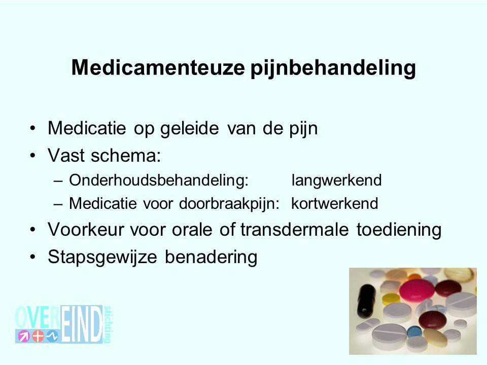 Medicamenteuze pijnbehandeling Medicatie op geleide van de pijn Vast schema: –Onderhoudsbehandeling: langwerkend –Medicatie voor doorbraakpijn: kortwe