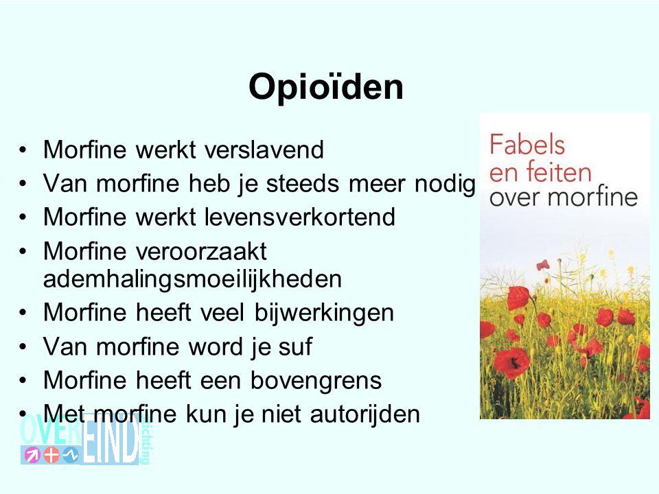 Opioïden Morfine werkt verslavend Van morfine heb je steeds meer nodig Morfine werkt levensverkortend Morfine veroorzaakt ademhalingsmoeilijkheden Mor