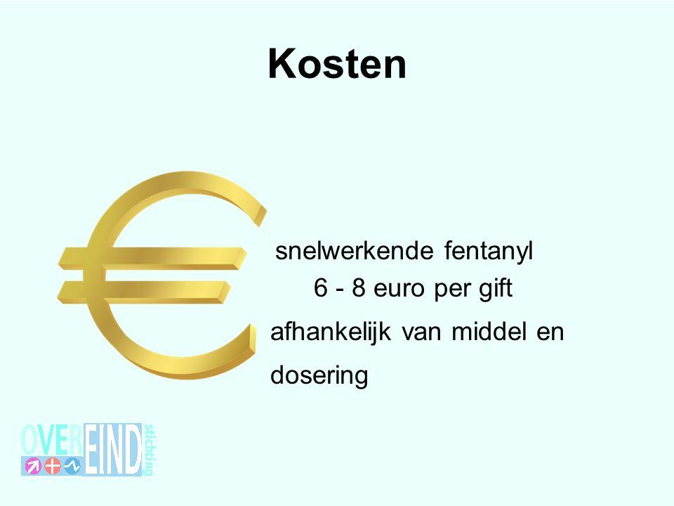 snelwerkende fentanyl 6 - 8 euro per gift afhankelijk van middel en dosering Kosten