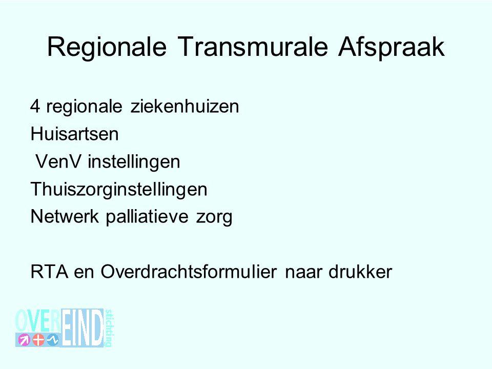 Regionale Transmurale Afspraak 4 regionale ziekenhuizen Huisartsen VenV instellingen Thuiszorginstellingen Netwerk palliatieve zorg RTA en Overdrachts