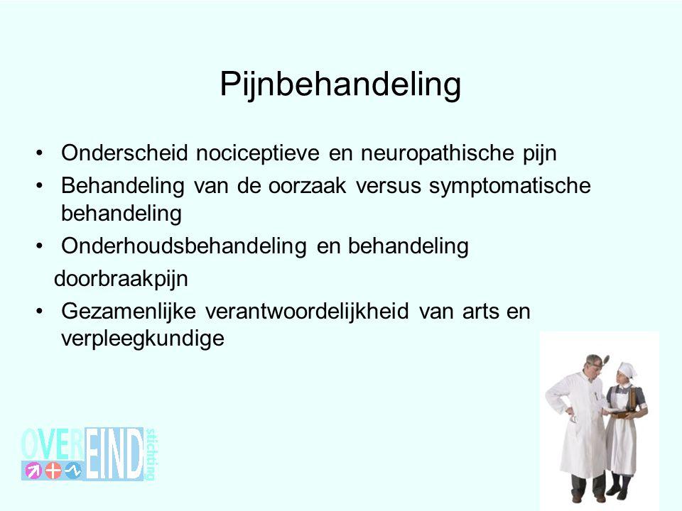 Pijnbehandeling Onderscheid nociceptieve en neuropathische pijn Behandeling van de oorzaak versus symptomatische behandeling Onderhoudsbehandeling en