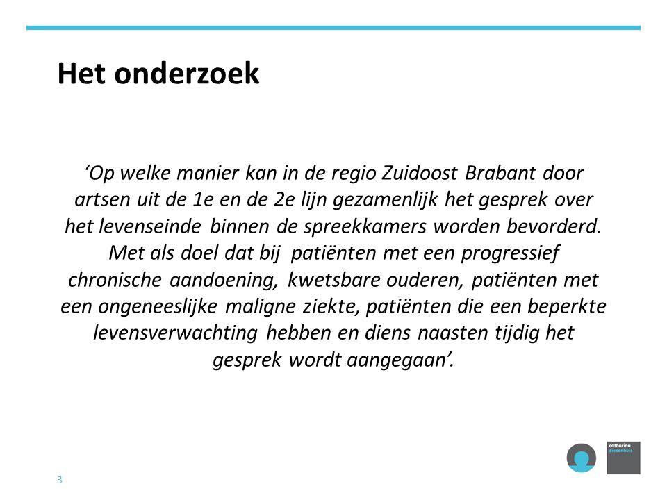 3 Het onderzoek 'Op welke manier kan in de regio Zuidoost Brabant door artsen uit de 1e en de 2e lijn gezamenlijk het gesprek over het levenseinde binnen de spreekkamers worden bevorderd.