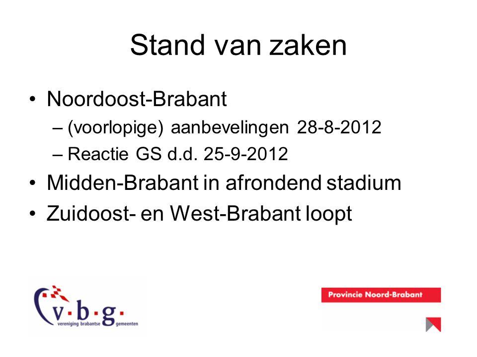 Stand van zaken Noordoost-Brabant –(voorlopige) aanbevelingen 28-8-2012 –Reactie GS d.d. 25-9-2012 Midden-Brabant in afrondend stadium Zuidoost- en We