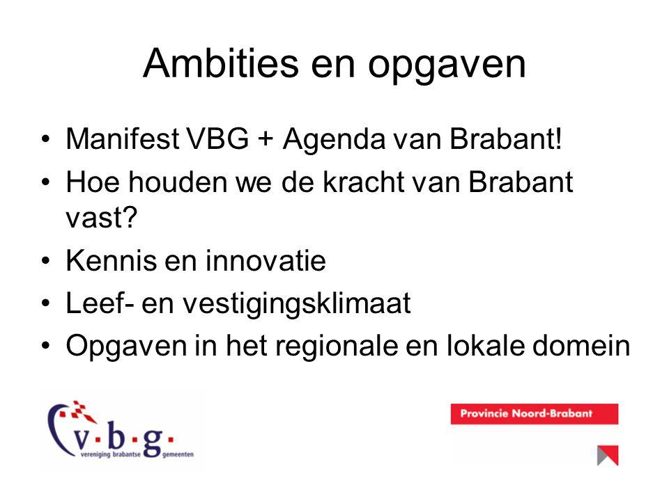 Ambities en opgaven Manifest VBG + Agenda van Brabant! Hoe houden we de kracht van Brabant vast? Kennis en innovatie Leef- en vestigingsklimaat Opgave